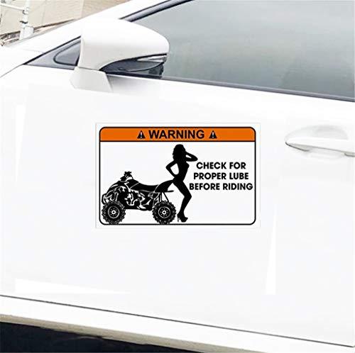 Aufkleber Sticker Auto Auto Aufkleber glänzend Aufkleber lustige Warnung Aufkleber Quad Atv Bike Witz Geschenk 13 x 7 cm für Auto Laptop Fenster Aufkleber