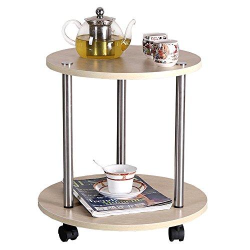 YNN Wohnzimmer kleine runde Tabelle Tee Tabelle kreisförmige Couchtisch beweglichen Tisch Balkon Tisch Tee Rack (Farbe : Holz)