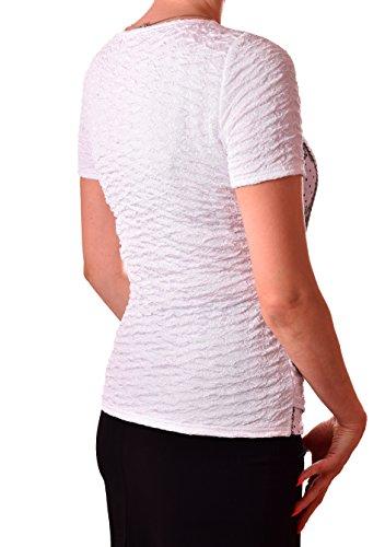 PoshTops Damen Bluse mit Silberner Schnalle Dehnbares Strukturiertes Material Damenshirt Kurze Ärmel Größen S �?XXXL Abendkleidung Freizeitkleidung Plus Size Weiß
