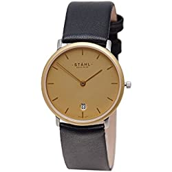 Stahl SWISS MADE Wrist Watch Model: ST61212 - Gold Plated - Small 27mm Case - Bar Gold Dial