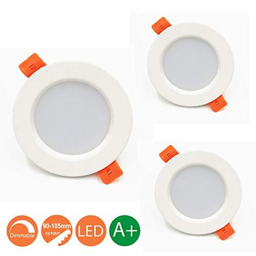 Lámpara LED de techo 7W Marco redondo Blanco Cálido 3000K, Regulable,550 Lumens,IP44,Foco LED empotrable para salón o dormitorio cocina 3 piezas