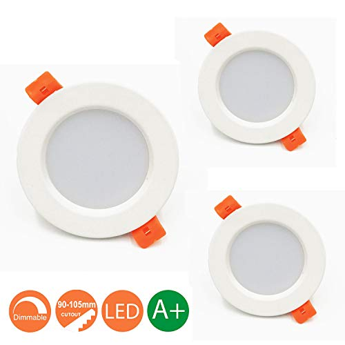 Lámpara LED de techo 7W Marco redondo Blanco Cálido 3000K, Regulable,550 Lumens,IP44,Foco...