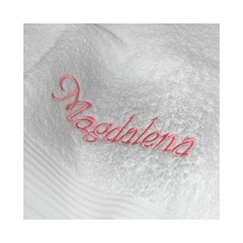 KringsFashion Duschtuch mit Namen nach Wunsch bestickt, 70 x 140 cm, Weiß, Stickfarbe Rosa, Qualität von deutschen Herstellern, schwere Premium-Qualität, 100% Baumwolle