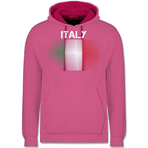 Länder - Italy Flagge - Kontrast Hoodie Rosa/Fuchsia