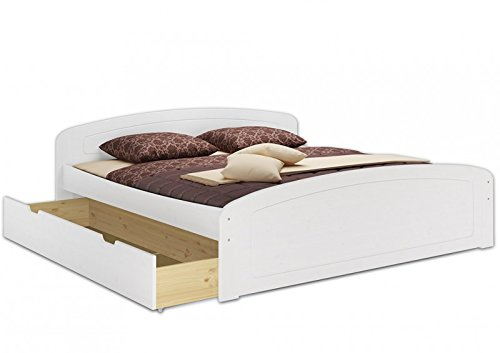 Erst-Holz® Doppelbett Bettkasten Rollrost 200×200 Seniorenbett Massivholz Kiefer waschweiß 60.50-20 W