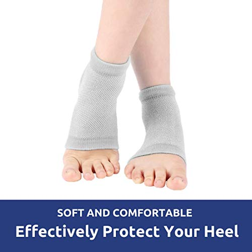 IZZORI Men's and Women's Silicone Gel Heel Socks for Dry Hard Cracked Heel Repair Pad, Plantar Fasciitis and Foot Care (Free Size, Grey, 1 Pair)