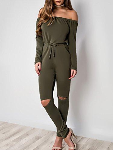 Simplee Apparel - Combinaison - Femme vert militaire