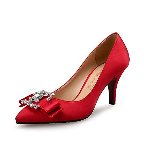 DIMAOL Scarpe da Donna di Seta Caduta Molla Comfort Tacchi Stiletto Heel Strass per la Festa di Nozze & Sera Mandorla Rosso Nero Rosso