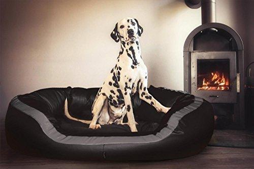 tierlando® PEPPER Orthopädisches Hundesofa in Kunstleder | 13cm mächtige Matratze VISCO | XXL-Kuschel-Rand | Schwarz 110cm L | Anti-Haar | Formstabil