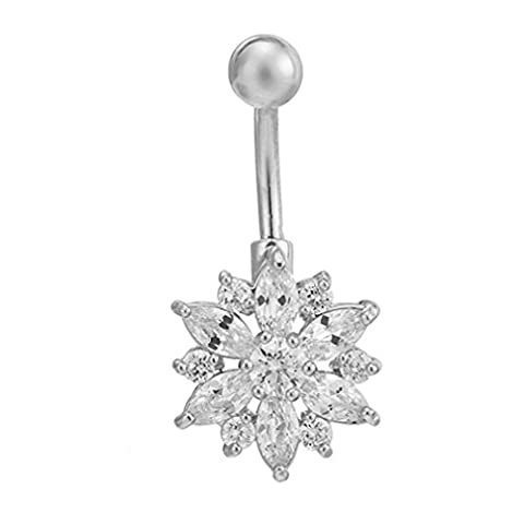 Bijoux Piercing, Beaux Cubic Zirconia Belly Button Bar Barbell Nombril Anneau Body Piercing Jewelry (Argent)