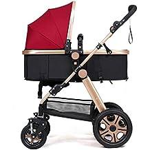 3-en-1 cochecito alto paisaje sentado paraguas horizontal plegable portátil bidireccional 4 ruedas