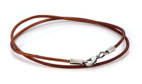 Bico 2mm Brown Leather Necklace 45cm Long (CL8 Brown 45cm) Tribal Surf Jewellery