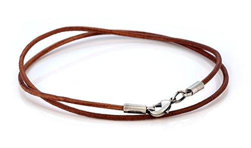 Bico Herren 2mm Braunes Lederhalsband 50cm Lang (CL8 Braun 50cm) Leder Halskette