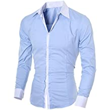 Camisas Hombre Amlaiworld Camisa de hombre de negocios Camisa de manga larga casual para hombre Camisa de vestir slim fit Camisa de vaquero blusa Tops Outwear (XL, Azul)