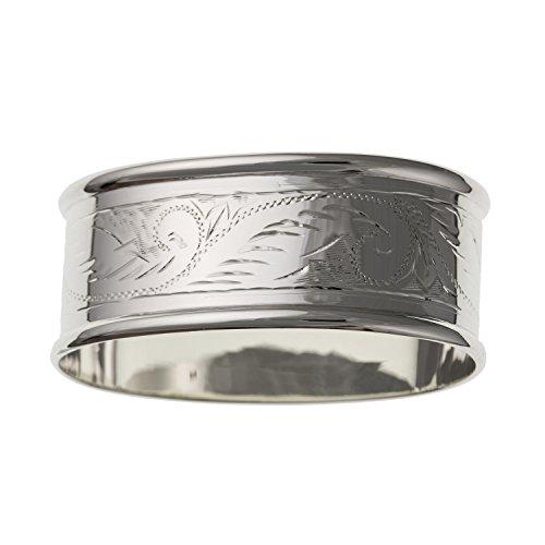 Viktorianischer Foliate Graviert Oval Serviette Ring-20mm x 49mm-massiv 925Sterling Silber, Lieferung erfolgt in Geschenkbox -