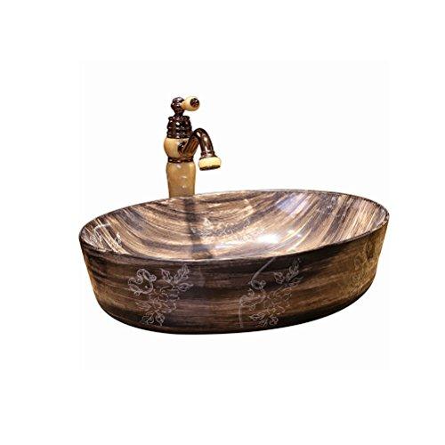 LUYIASI- Aufsatzbecken Waschtisch zur Vergrößerung des Verdickungsbeckens Hotel Waschbecken Holzmaserung (56x41x15cm) bathtub -