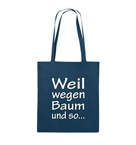 Comedy Bags - Weil wegen Baum und so - Jutebeutel - lange Henkel - 38x42cm - Farbe: Schwarz / Silber Navy / Weiss