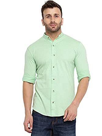 GRITSTONES Men's Cotton Full Sleeves Chinese Collar Shirt (Light Green, Small)