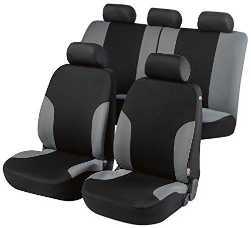 Walser 11290 Autositzbezug Lyon grau schwarz, Komplett Set, seitenairbagtauglich, TÜV geprüft mit ABE