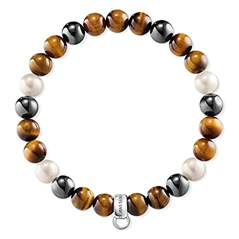 Thomas Sabo Women Bracelet X0218-948-2 925 Sterling Silver Freshwater Pearl, Tiger's Eye, Reconstructed Hematite Silver-coloured, Brown, Grey, White