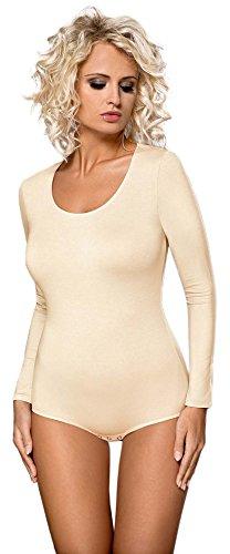 Damen Langarm Body Unterwäsche Bodywear Tanz Bodys von Gaia BDV021 Ecru