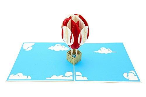 uftballon & Popup-Grußkarte des Himmels 3d für alle Gelegenheitsreisende, Eltern, Abenteuerliebhaber faltet sich flach für das Versenden des Geburtstages, Babydusche, Staffelung, R ()