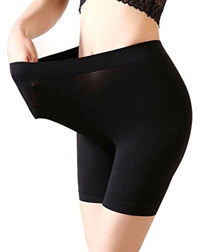 Frauen Yoga Bike-shorts (Mangotree Damen Nahtlose Boy-Shorts 4-Wege-Stretch Mittlere Länge Sicherheits Yoga-Boxershorts Hipster Shorts (Einheitsgröße (Taille 26-34 Zoll), Schwarz))