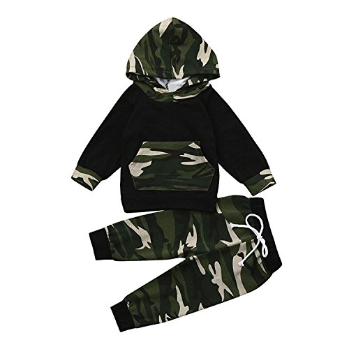 SHOBDW Boys Clothing Sets, Baby Boy Girl Print Hoodie Tops + Pants Toddler Outfits Clothes (12-18 Months, H-Black)