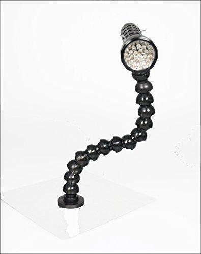 LED Arbeitsleuchte mit Schwanenhals und gummiertem Magnetfuß, Leuchte schwarz oder silber (Farbe nicht frei wählbar) -