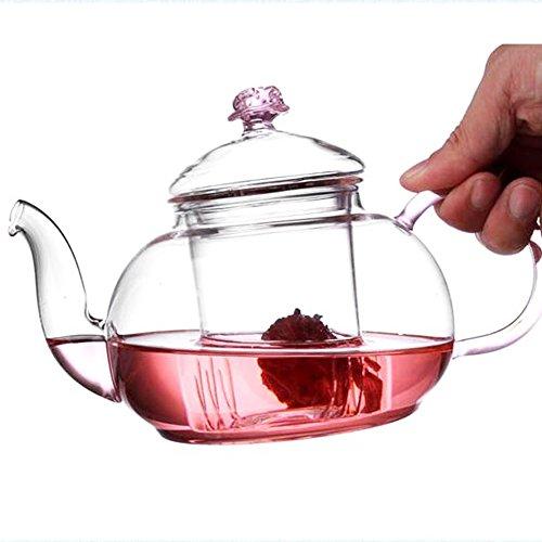 TAMUME 600ML Rose Théière Verre avec Filtre en Verre Amovible pour Princesse et Ideal Tea Service Théière en Verre Thé en Fleurs Théière Transparente