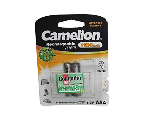 Galleria fotografica Camelion NH-AAA1100BP2 Nickel Metal Hydride 1100mAh 1.2V rechargeable battery - rechargeable batteries (1100 mAh, Nickel Metal Hydride, AAA, 1.2 V, Silver, 2 pc(s))