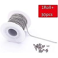 30 pies 1.5/2.0/2.4/3 mm Collar de cadenas de bolas de acero inoxidable con 30 piezas de cierres de conectores, cuentas para joyería