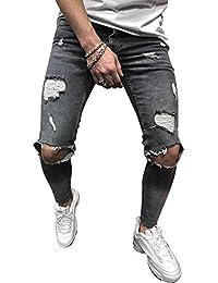 62183e9982529 Dihope Homme Vintage Jeans Skinny Pantalon en Denim Serré Trou Biker  Straight Slim Fit Pants Déchiré