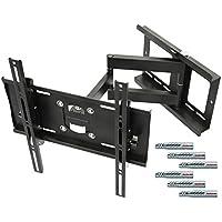 RICOO Wandhalterung TV Schwenkbar Neigbar R23F Fischer® UX10 Dübel Universal LCD Wandhalter Fernseher Halterung Curved OLED QLED Flachbildfernseher 80cm/32-165cm/65 Zoll/VESA 400x400