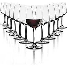 Copas de vino Tinto Pasabahce/ 370 ml / set de 12 / Gafas de alta calidad/ apto para lavavajillas