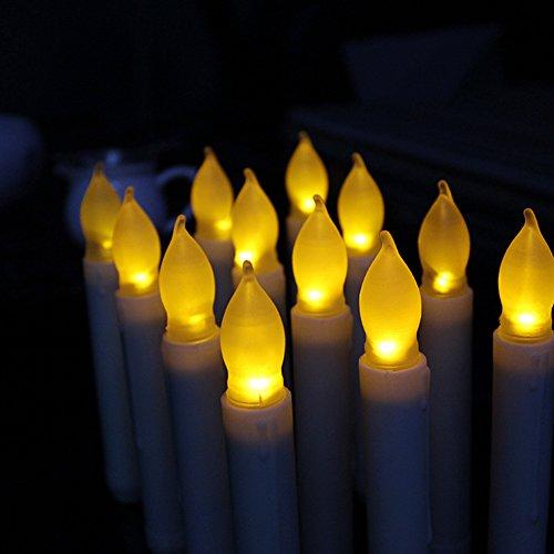 HanSemay sin llama Set de 12 velas LED Taper, Amarillo parpadeo bombillas Pilas LED Pilar velas para la decoración del hogar Cumpleaños, iglesias, fiestas y Navidad, baterías no incluidas (6.5