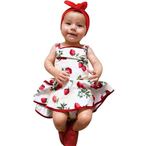 Amlaiworld baby prinzessin Erdbeeren druck kleider Mädchen Niedlich hochzeit kleid sommer frühling kinder party tanktops mode Ärmellos strand kleidung, 0-24Monate (6 Monate, Weiß)