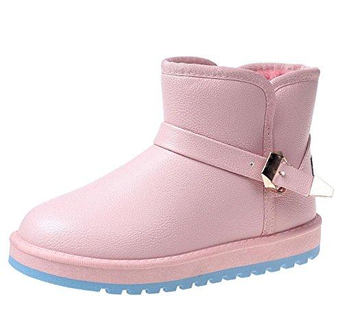 KUKI Scarpe da donna, stivali da donna, ispessimento, impermeabili, stivali da neve, caldi, antiscivolo, scarpe da donna in cotone pink