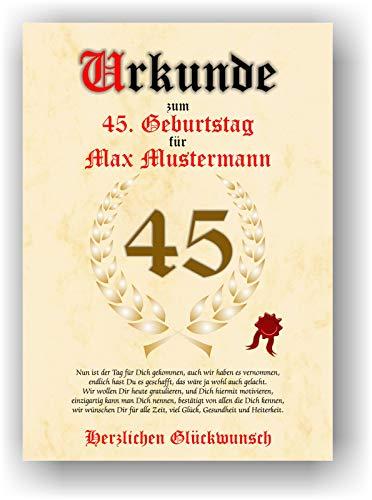 Urkunde zum 45. Geburtstag - Glückwunsch Geschenkurkunde personalisiertes Geschenk mit Name Gedicht und Spruch Karte Präsent Geschenkidee Mann Frau DIN A4