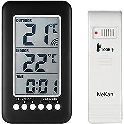 Thermomètre Intérieur Extérieur Sans fil NeKan Affichage LCD en de Température et Horloge Digital Thermomètre Maison Cuisine Bureau (Émetteur 1)