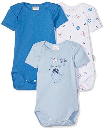 Absorba 6J60166, Body para Bebés, pack de 3, Azul (Faïence), 0-3 Mes