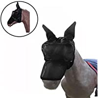 HKFV - Máscara de caballo creativa para la cara del caballo y los ojos, protector para la nariz del caballo, protección solar, elegante decoración para caballo para evitar moscas y insectos, peluches de carreras de caballo