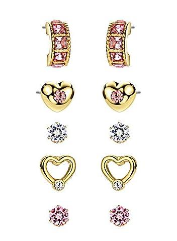 Neoglory Jewellery 14 K Gold Ohrstecker set 5 Paare Herz Kugel Halbkreis mit Kristall Zirkonia allergiefrei weiß Pink