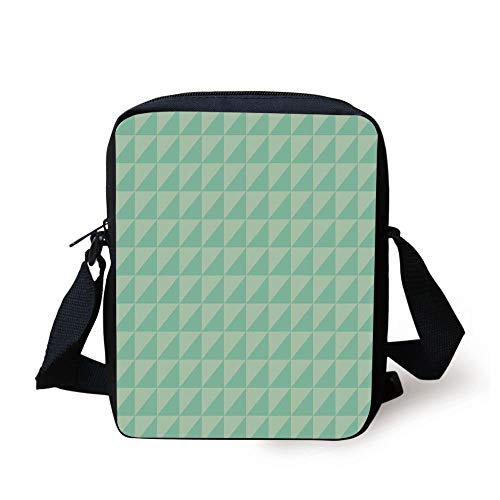 Cut Half Round File (Mint,Symmetrical Half Cut Squares with Triangles Retro Style Checkered Pattern,Mint and Almond Green Print Kids Crossbody Messenger Bag Purse)
