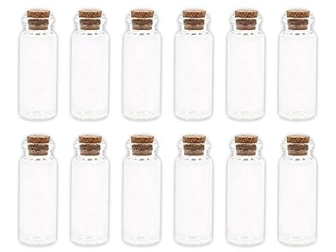Lot de 20 Petites Bouteilles en verre transparent avec bouchon en liège jolie fiole flacon avec cork Mini bouteille décoratives pour parfums liquides sables colorés des gourmandises miniatures, choisir:20 pièces GF-03 2 cm x 6 cm