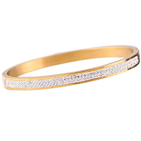 3 Beautiful Colours Of Two Row Crystal Rhinestone Pave Stainless Steel Love Bracelet & Bangle for Women Famous Designer Brand (Gold)