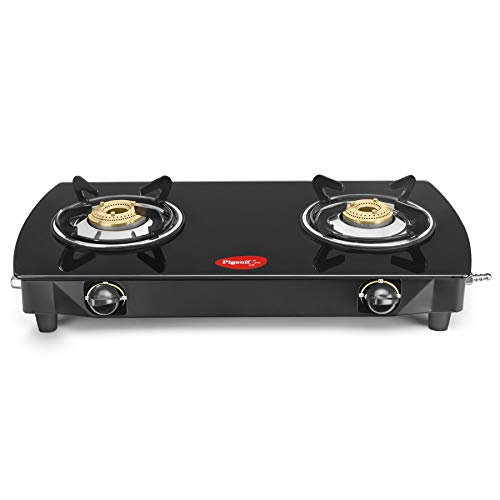 Pigeon 2 Burner Oval Glass Top Gas Stove with Heavy Brass Burner-2 Year ON SPOT Warranty