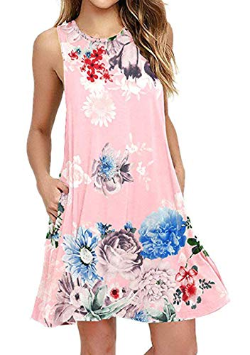 OMZIN Damen Tunika T-Shirt Casual Lose Kleid mit Taschen lose Swing Flowy Kleid lose Swing Flowy Kleid,Rosa,XL - T-shirts Teenager Günstige