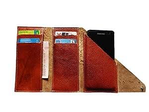 ATV Genuine Leather BROWN Designer Tri-Fold Pouch Case Cover For Micromax Canvas Juice 4G Q461
