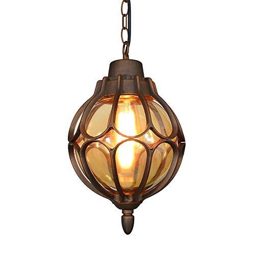 Outdoor Impermeabile Sospensione Lampada E27 Esterno/Interno Pendente Luce In Alluminio Vetro Palla Lampadari Lanterna Vigneto Villa Cantiere Veranda Corridoio Uva Cornice,Bronzo Colore 18 * 33CM